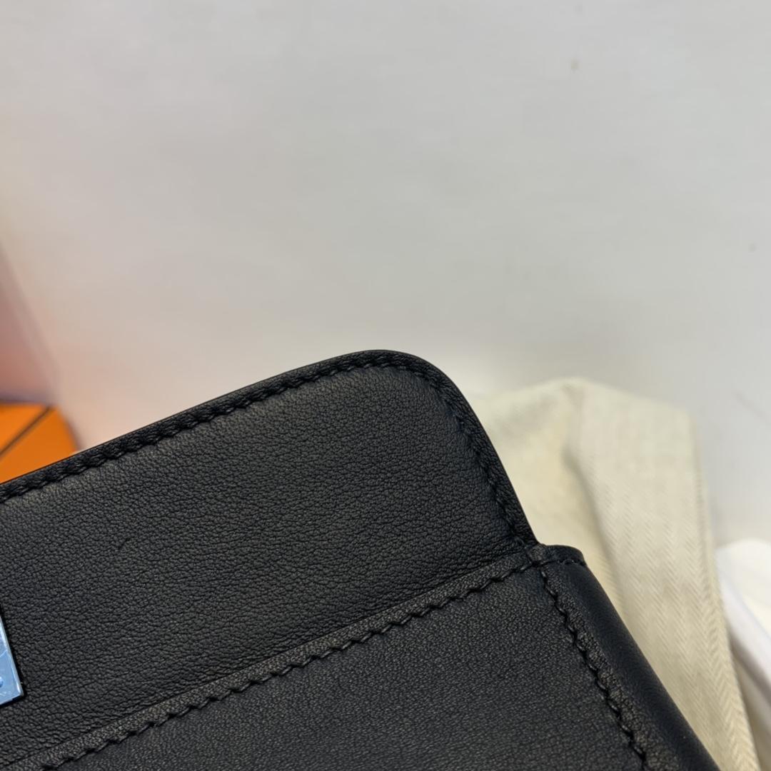 爱马仕HERMES 20toobox   swift 黑色内拼电光蓝  银扣   正品开版!
