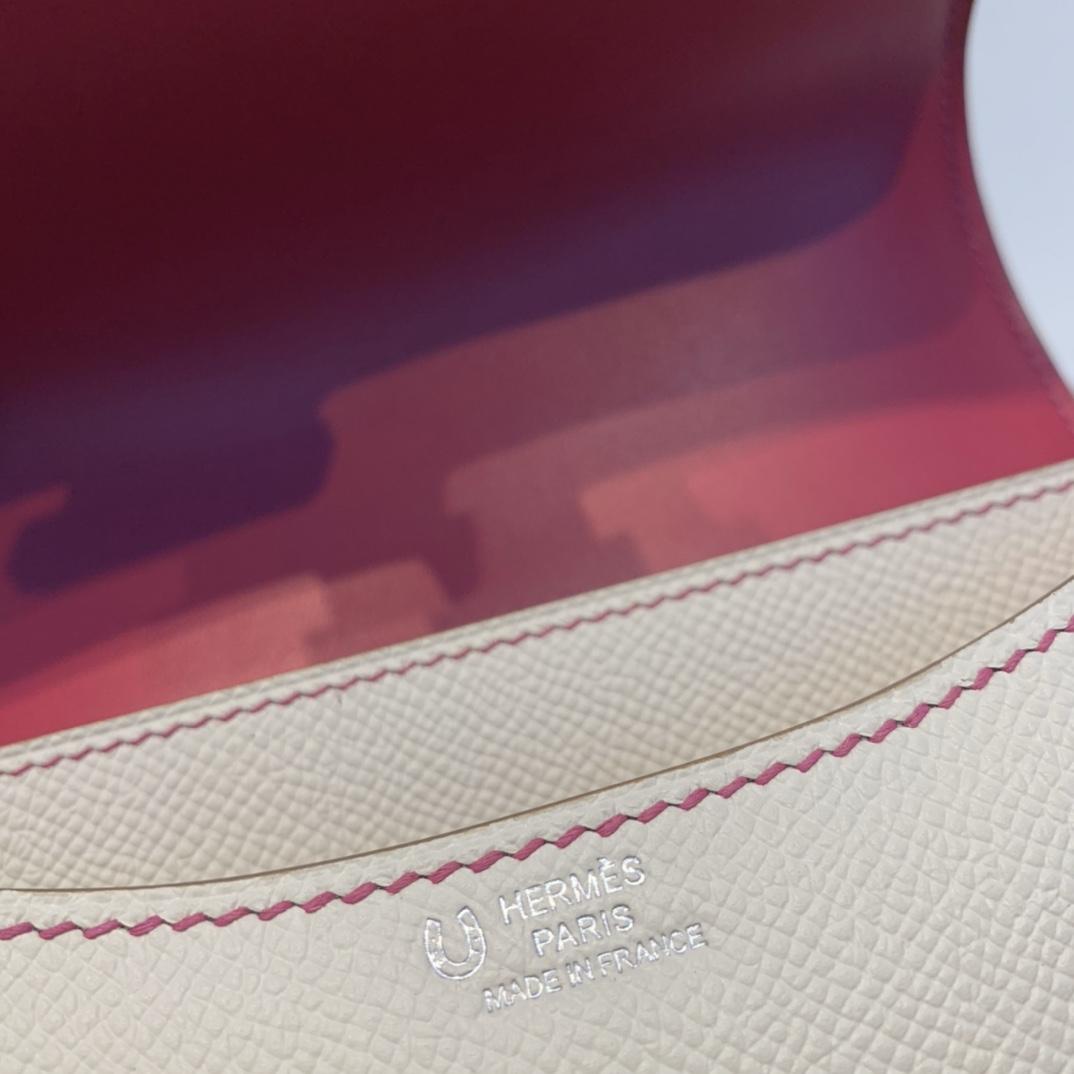 HERMES 订单出货  Constance 19   原厂epsom皮  10奶昔白内拼L3玫瑰紫  银扣  special oeder 这拼法巨亮眼