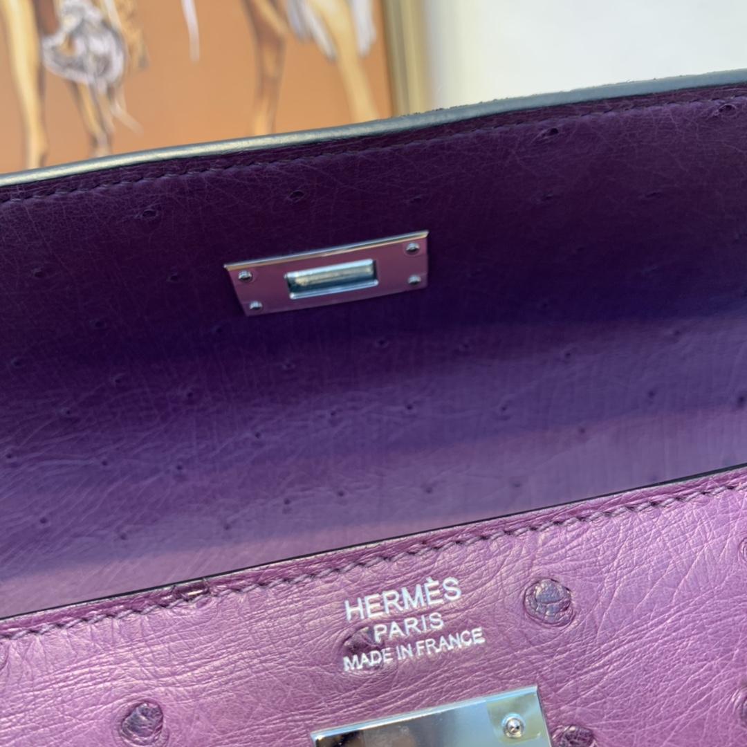 爱马仕 kelly 32  进口南非kk鸵鸟皮  9W梦幻紫  内缝银扣  优雅知性气质美!