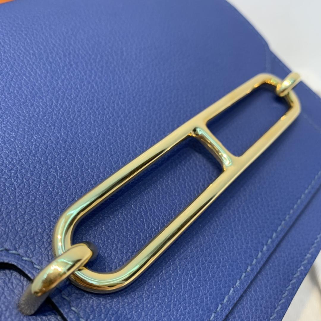 爱马仕 Roulis 19 猪鼻子   evercolor 皮  明蓝色-Bleu Brighton-7E
