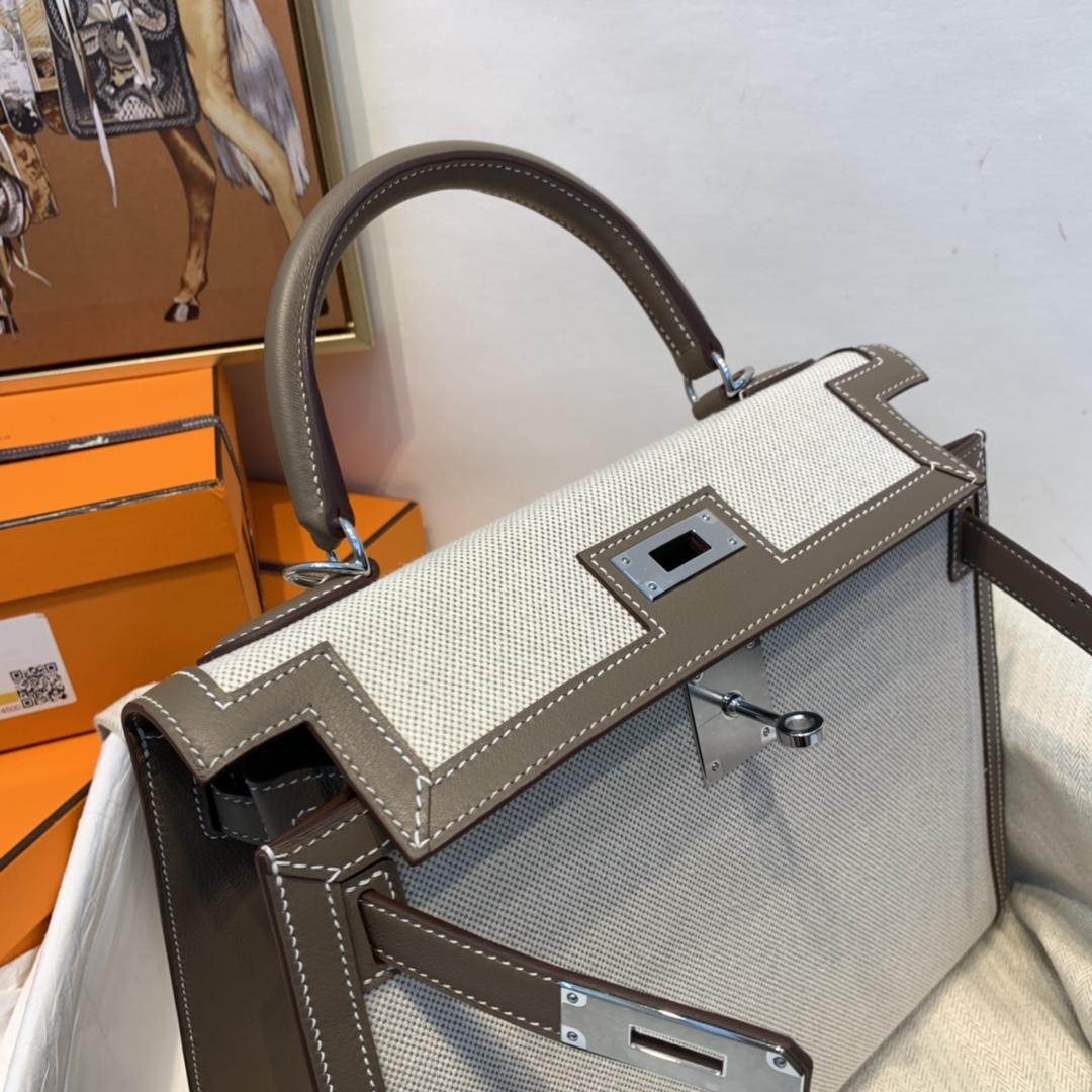 爱马仕 限量款 kelly 28cm耐看帅气的款式 真的越看越好看 超级酷 Swift/Toile H 37-大象灰 银扣