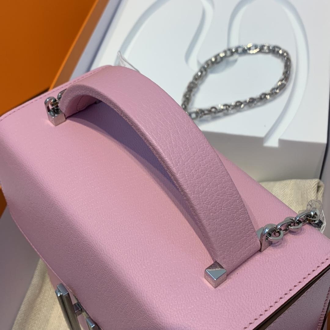 爱马仕 cinhetic 18cm 盒子包  chevre mysore 山羊皮 X9 锦葵紫 少女心 超级有气质