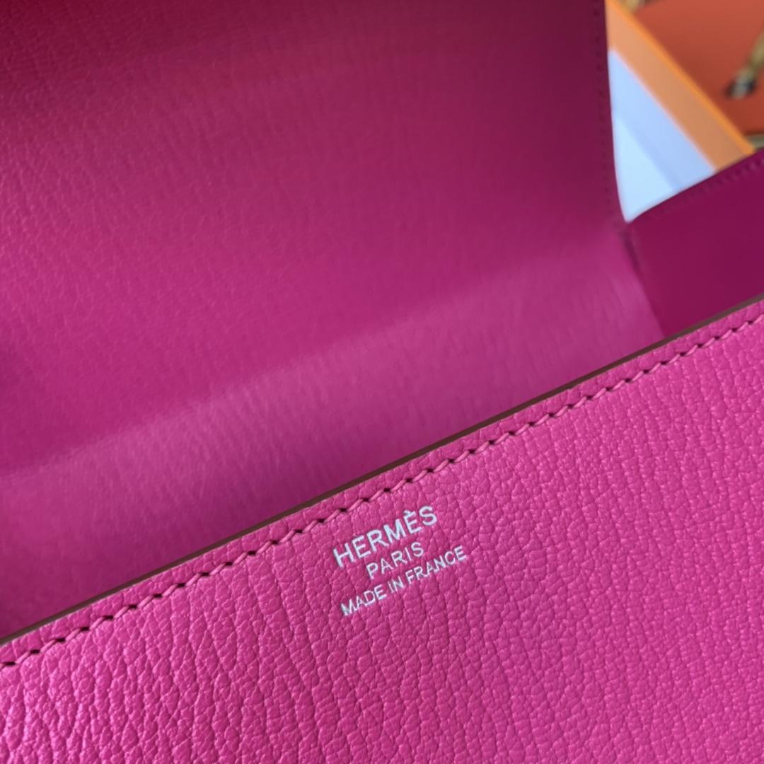 爱马仕 cinhetic 18cm 盒子包 chevre mysore 山羊皮 L3 玫瑰紫 超级有气质