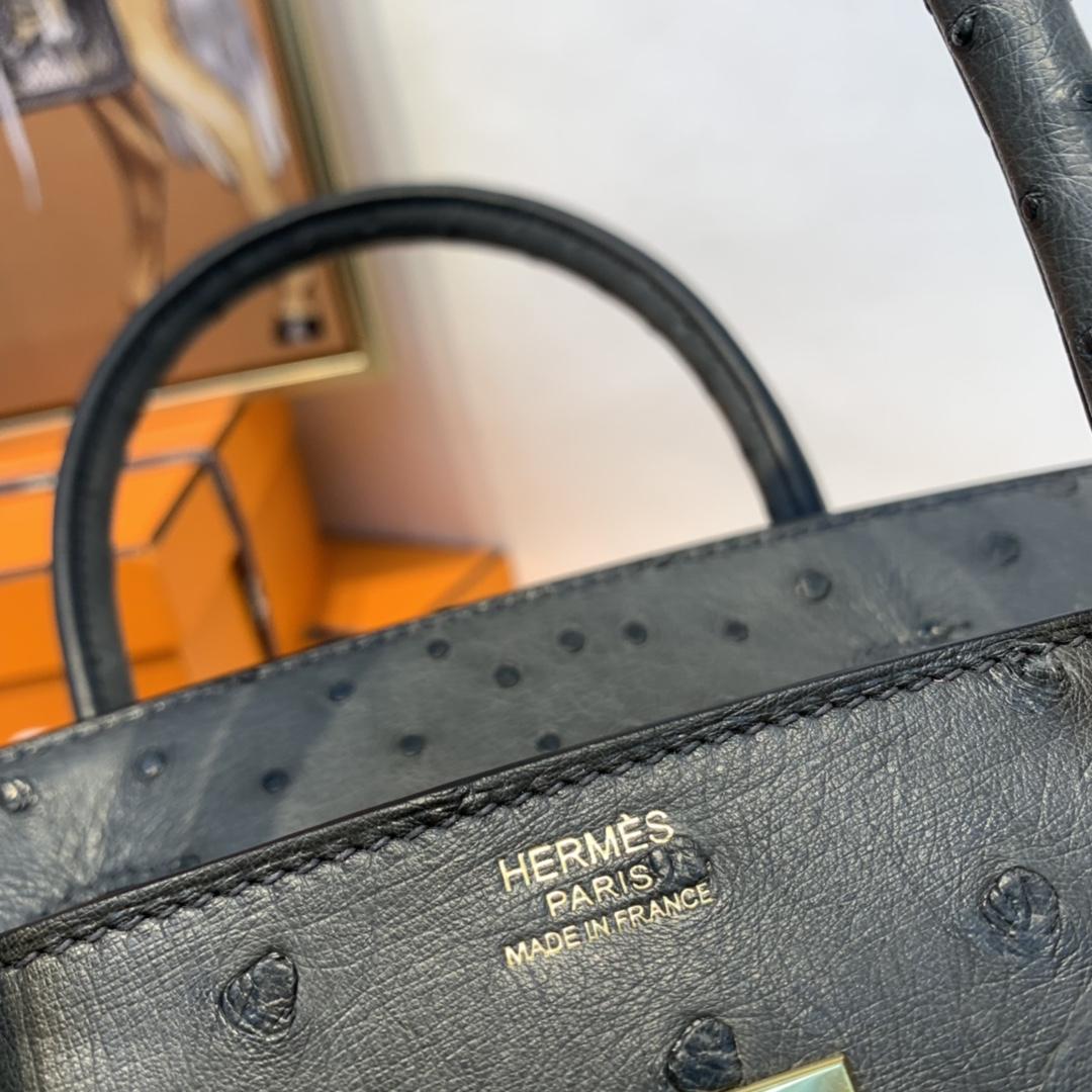 HERMES 订单 30铂金 鸵鸟皮  锡器灰 金扣