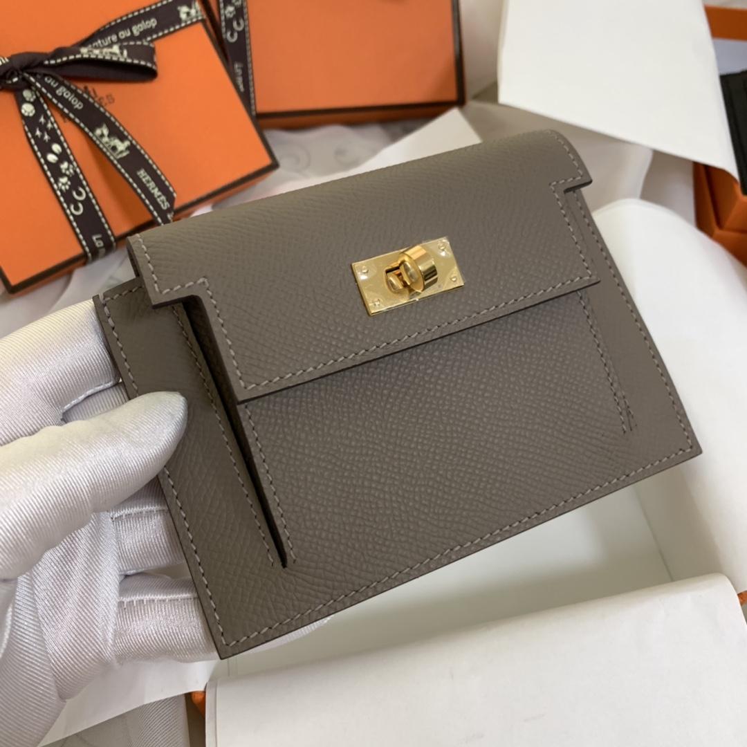 Hermes Kelly pocket 配猪鼻子链子就是一个小包包 完美 M8 沥青灰 金扣