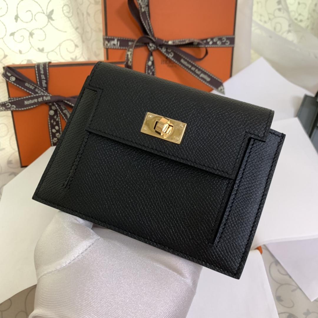 Hermes Kelly pocket 配猪鼻子链子就是一个小包包 完美89 黑色 金扣