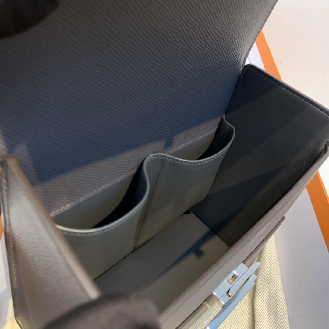 HERMES 爱马仕 cinhetic 18cm 盒子包 epsom皮 8F 锡器灰 银扣