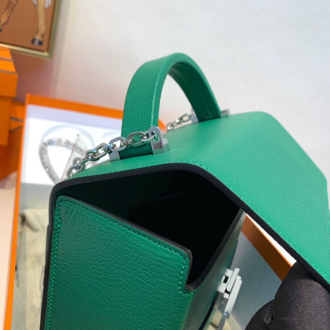 HERMES 爱马仕 cinhetic 18cm 盒子包 epsom皮 U4 丝绒绿拼松柏绿 银扣