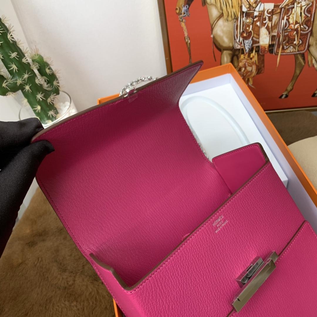 爱马仕 cinhetic 18cm 盒子包  chevre mysore 山羊皮 9i 玉兰粉 超级有气质