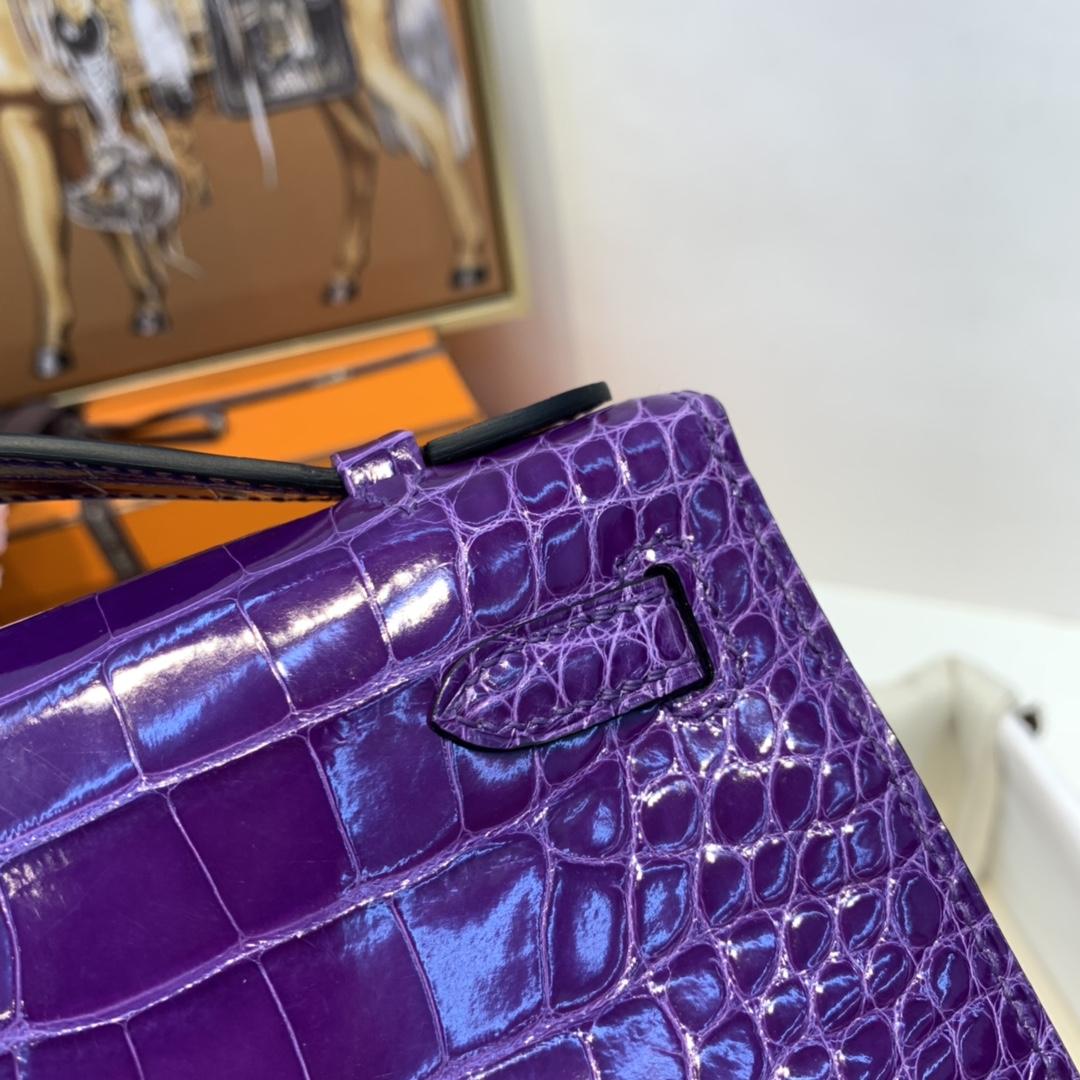 HERMES 爱马仕 Kelly pochette  亮面Alligator 美洲 鳄鱼皮  9W 梦幻紫 银扣  拥有这款神仙包包_ 晚宴你一定会是艳压全场的那个