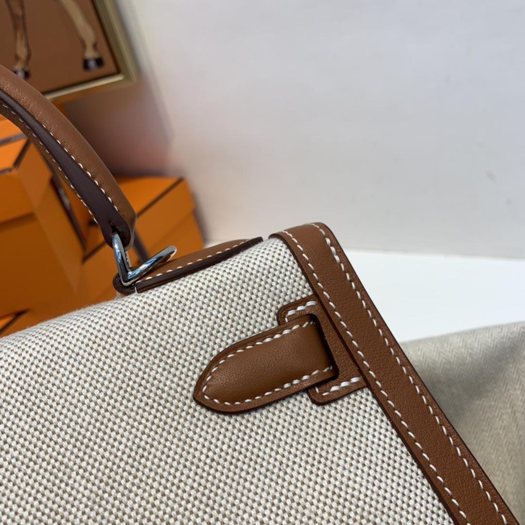 爱马仕 限量款 kelly 28cm耐看帅气的款式 真的越看越好看 超级酷 Swift/ToileH37-金棕色银扣