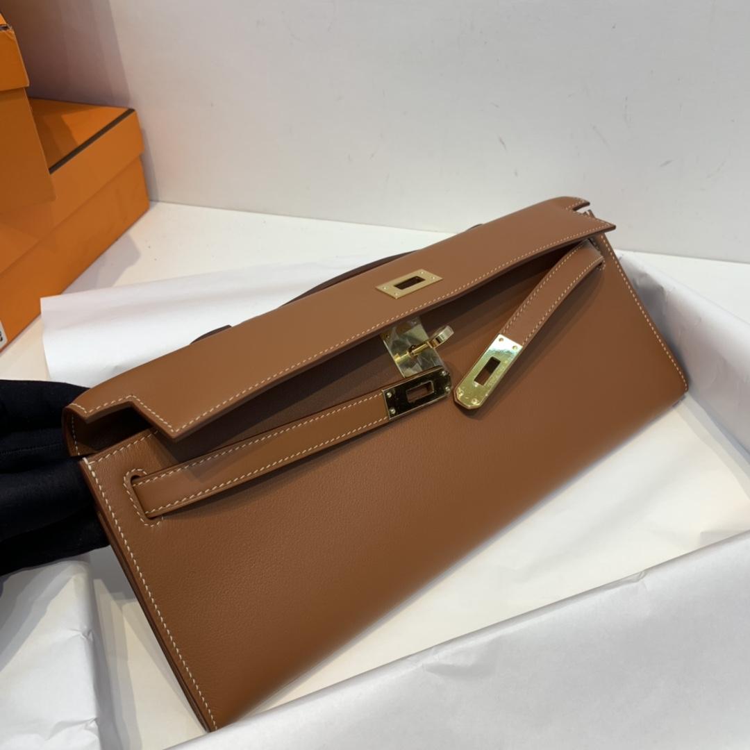 Hermes kelly cut 31cm 晚宴气质手拿包 非常干练又时髦 swift皮  37-金棕 金扣