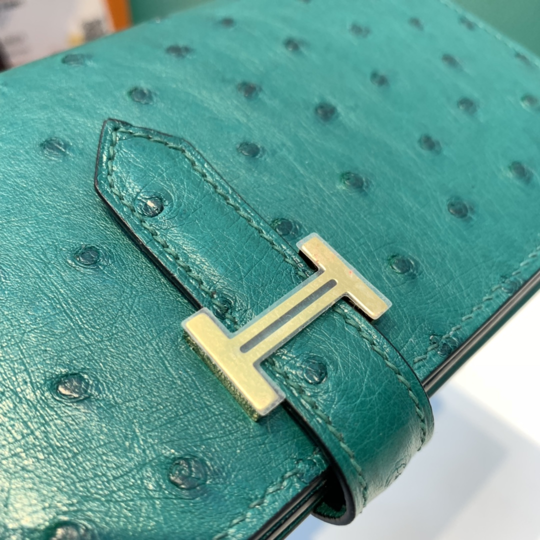 Hermes Bearn 长款钱包 最经典的款式之一 男女通用 鸵鸟皮 z6孔雀绿 金扣