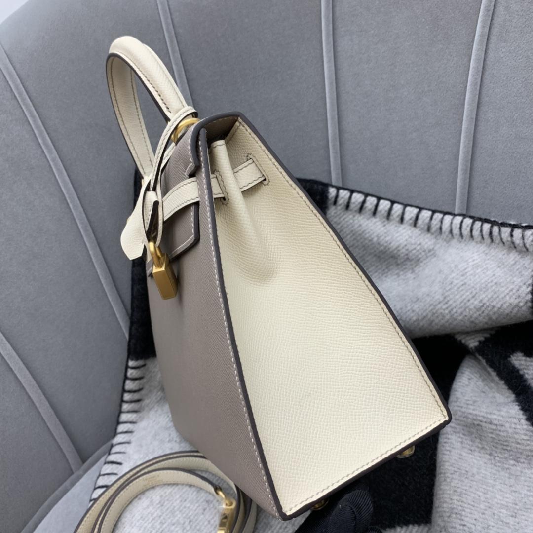 Hermes代工厂直销 Kelly 25 Epsom  百搭只是它的一小优势 M8沥青灰拼cc10奶昔白拉丝金