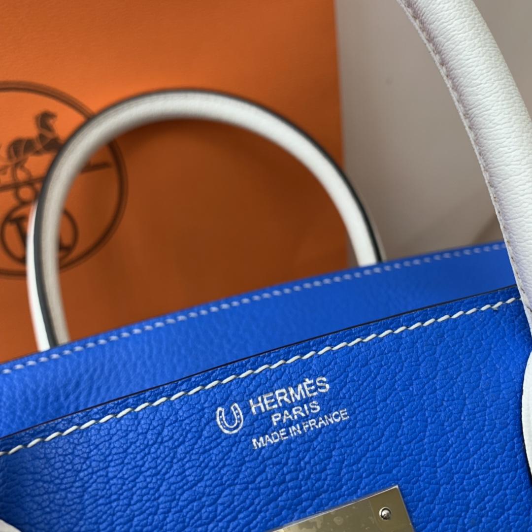HERMES 爱马仕 birkin 30cm  chevre mysore 山羊皮 7Q希腊蓝拼纯白 银扣 适合网红小姐姐 街拍更加好看 显的独一无二!
