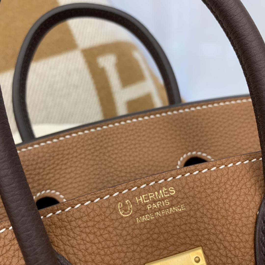 HERMES birkin 25cm原厂togo皮 37拼咖啡色 拉丝金扣 拼色永远是最吃香