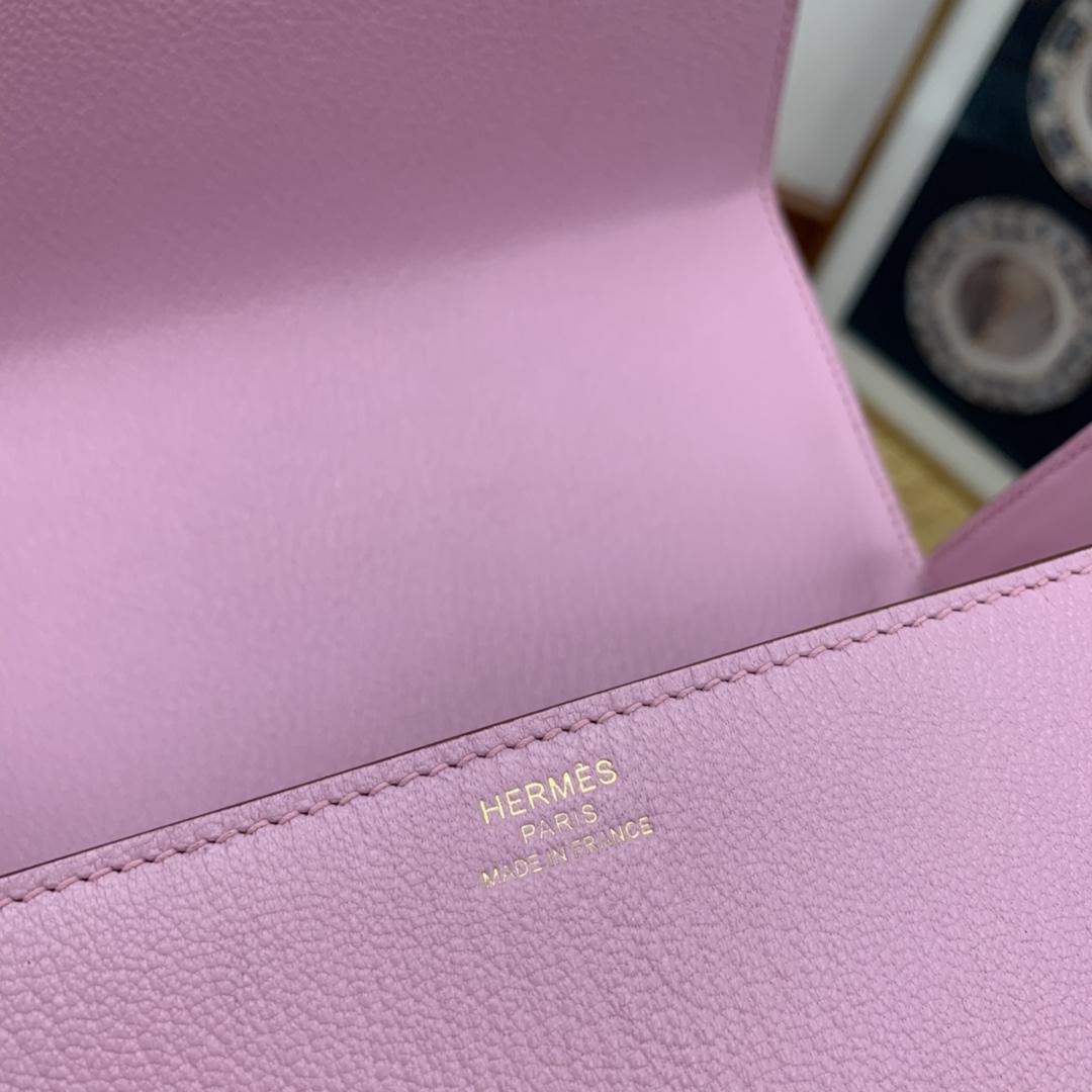HERMES ccinhetic 18cm 盒子包 Epsom 皮 新设计的H不规则扣非常精细特别,备受它人瞩目的焦点 X9 锦葵紫 金扣