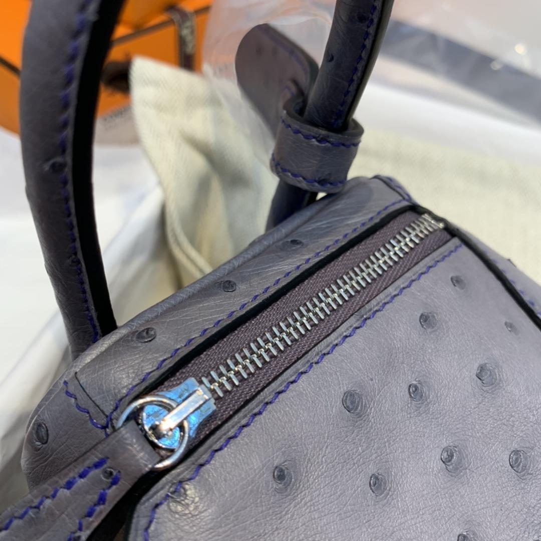 香港爱马仕 订单 极品 mini Lindy 南非KK ostrich皮 玛瑙灰拼电光蓝 银扣