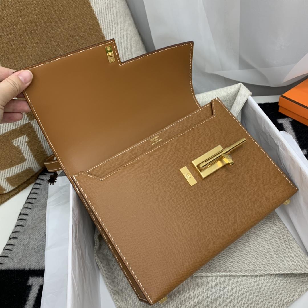HERMES verrou 21cm 可斜跨 可肩背 好有气质的一款 原厂epsom皮 37金棕色 金扣
