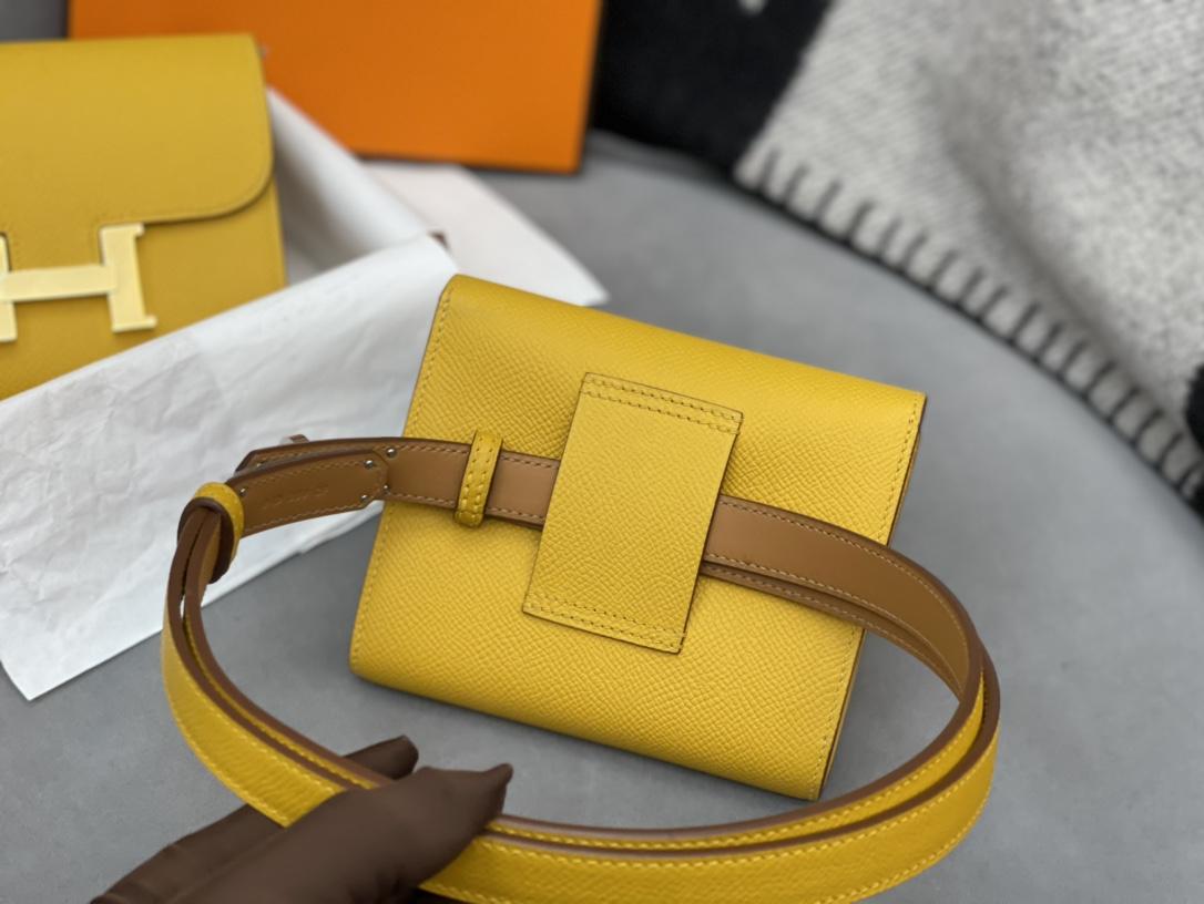 HERMES Constance compact 腰包 钱包背后做成了可以穿过腰带或皮带的皮搭 Epsom 9D琥珀黄Jaune Amber 金银扣