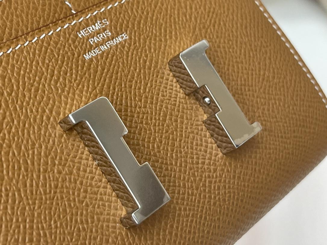 爱马仕 Constance compact 腰包 钱包背后做成了可以穿过腰带或皮带的皮搭 Epsom 37土黄 gold 金银扣