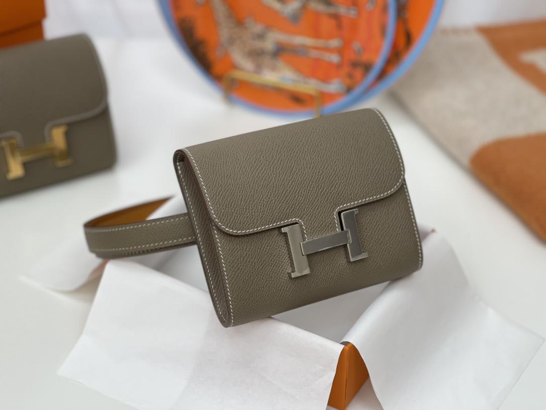 HERMES Constance compact 腰包 钱包背后做成了可以穿过腰带或皮带的皮搭 Epsom 18-大象灰 Etouope 金扣
