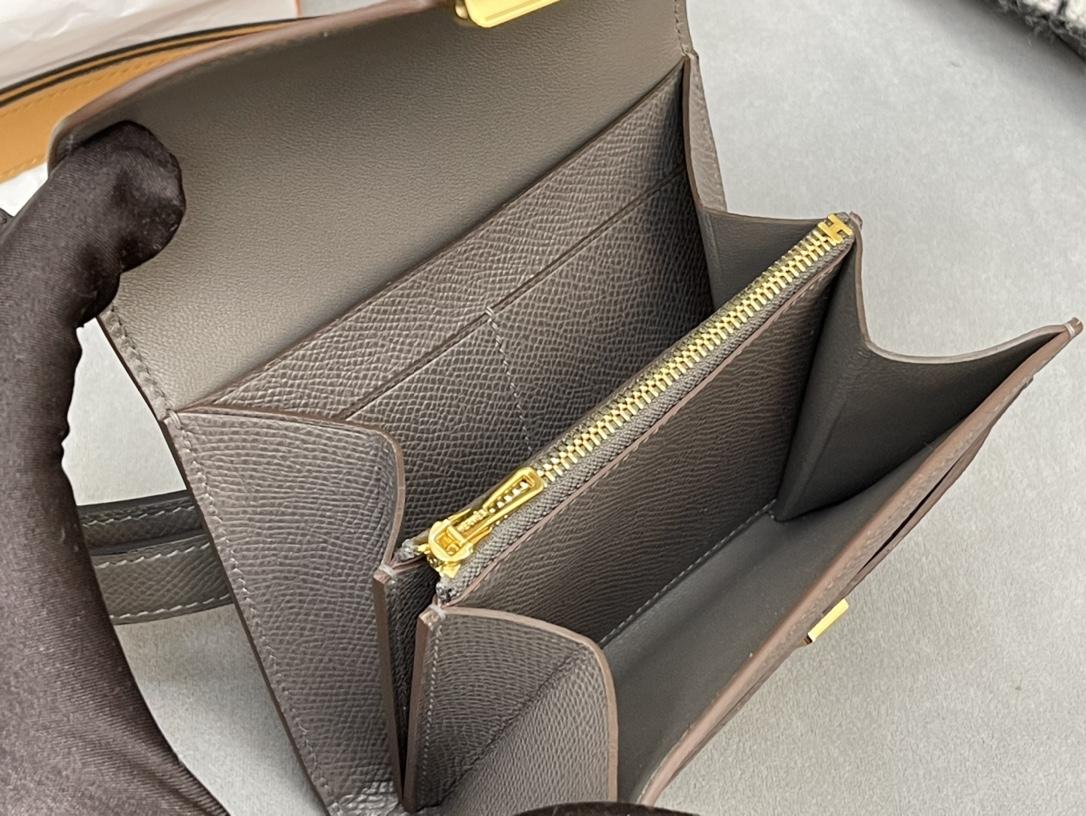 HERMES Constance compact 腰包 钱包背后做成了可以穿过腰带或皮带的皮搭 Epsom 8F 锡器灰 Erain 金扣 正品开版