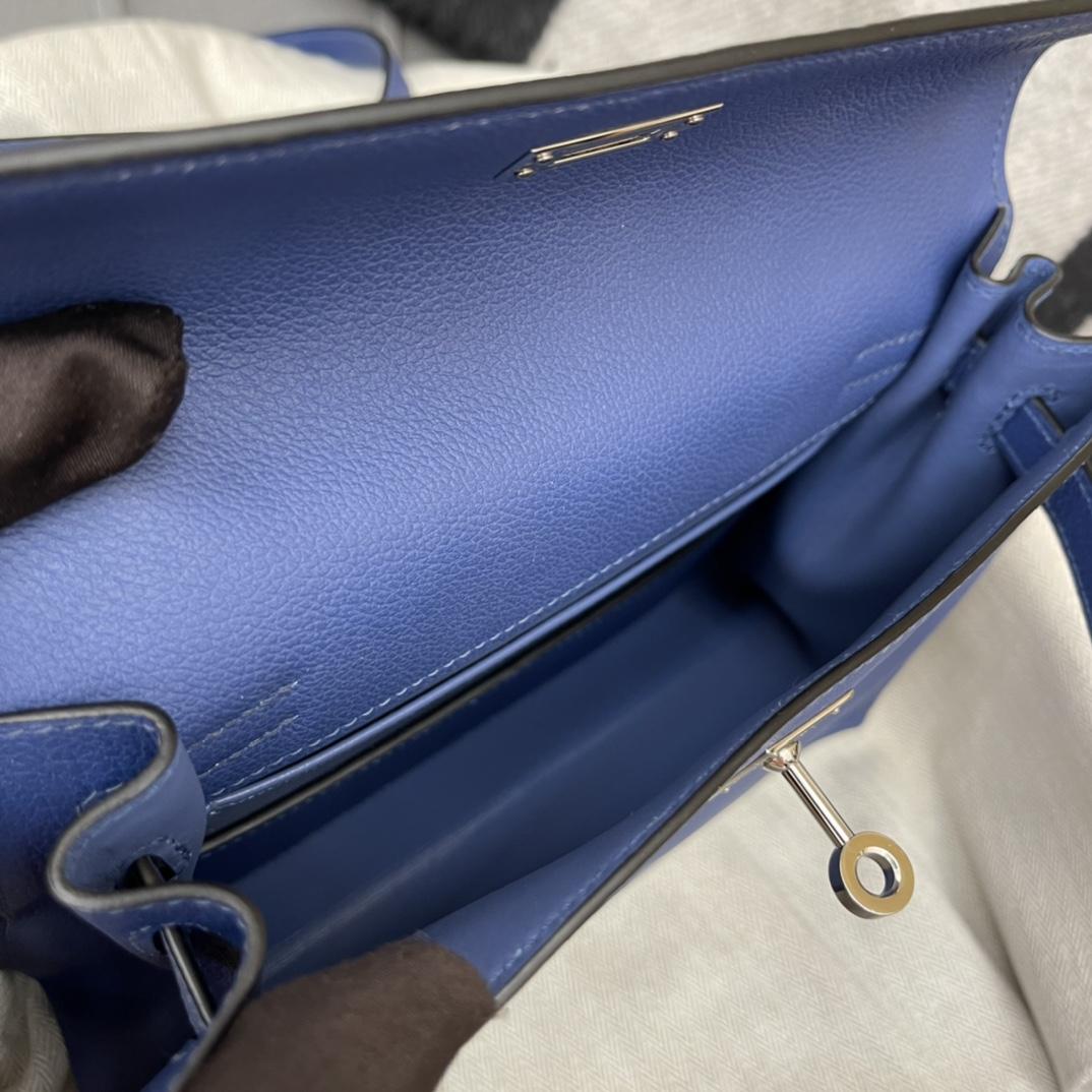 爱马仕 kelly danse跳舞包是kelly系列 正品开版 专柜品质 原厂evercolor R2 玛瑙蓝 Blue Agate 银扣