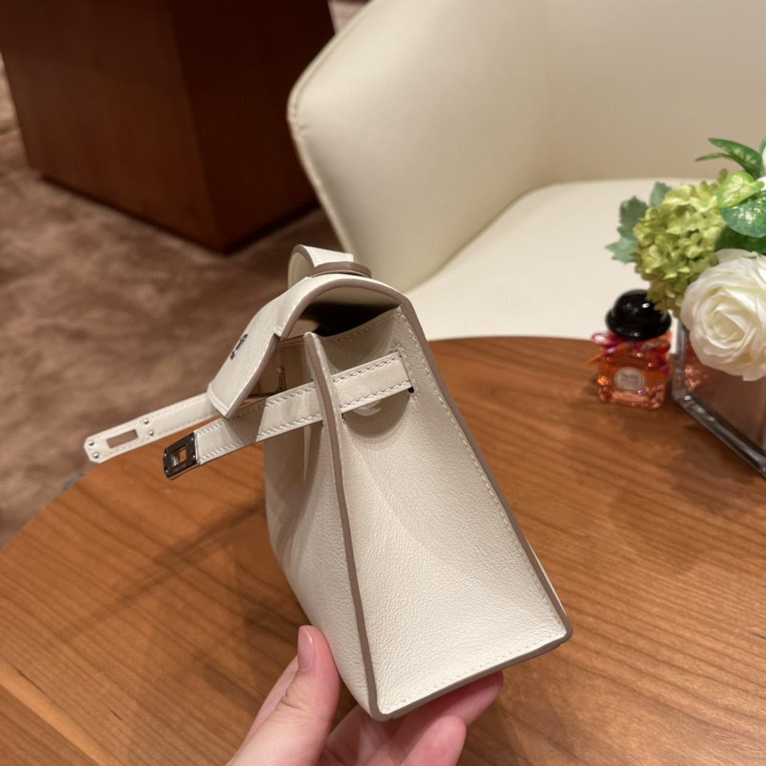 HERMES 爱马仕 kelly pochette  一代 手包 Swift 10 奶昔白 银扣  非常温柔的仙女色