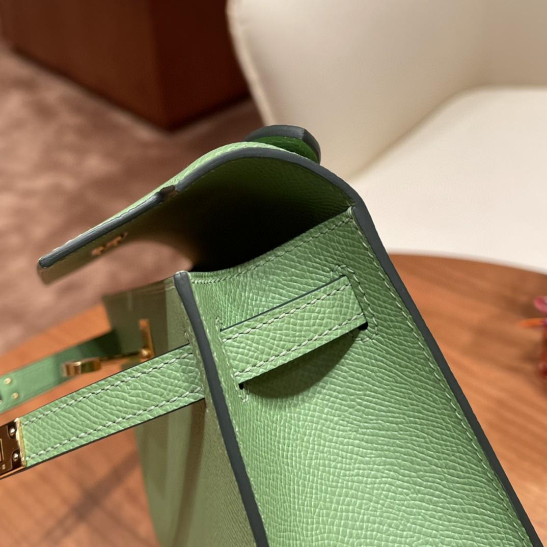 HERMES kelly pochette  一代 手包 Epsom 3i 牛油果绿 金扣 今年火爆色,嫩绿嫩绿 清新美