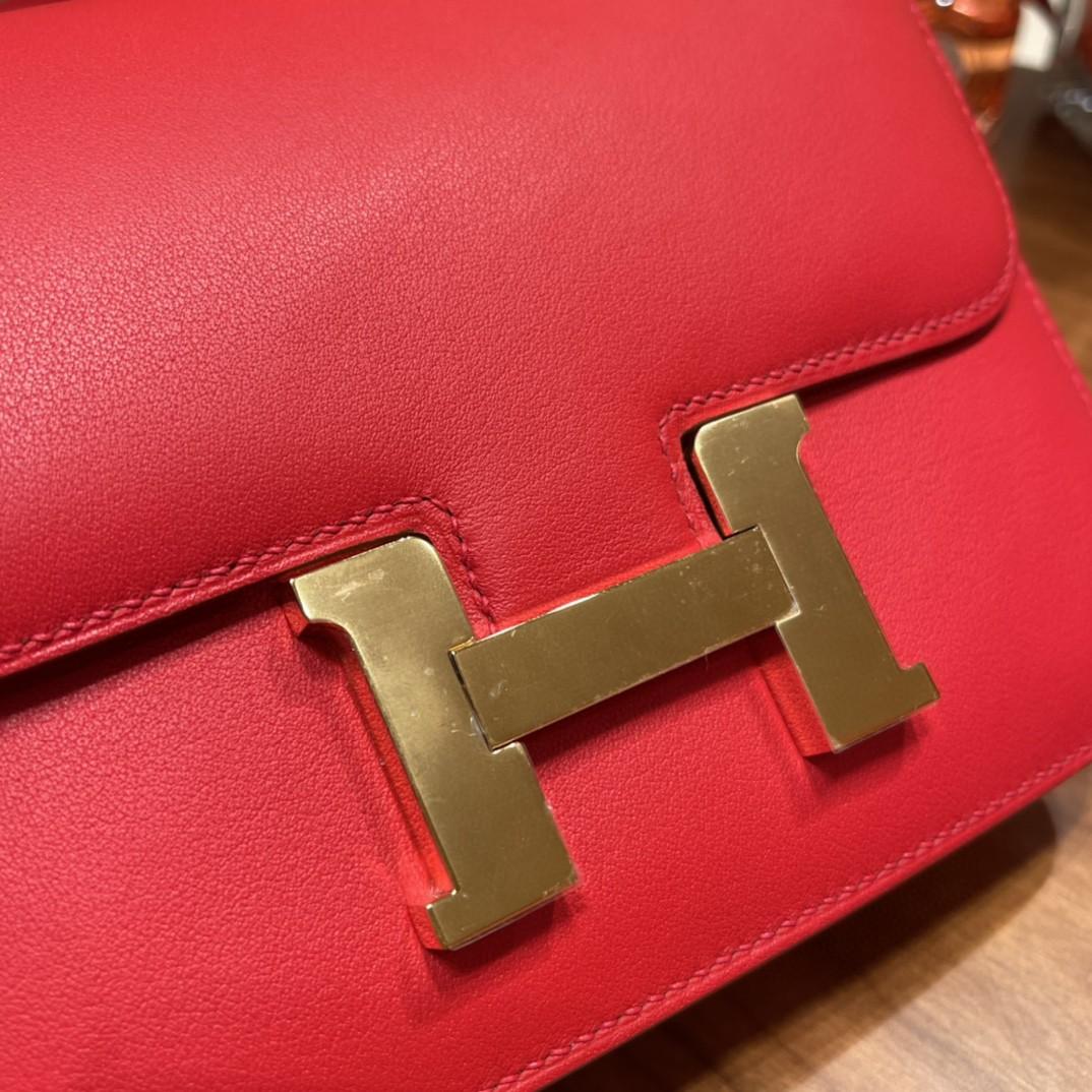 HERMES constance 康康包19 cm 小巧玲珑 大H标志极具个性 Swift皮S3心红拼37金棕金扣