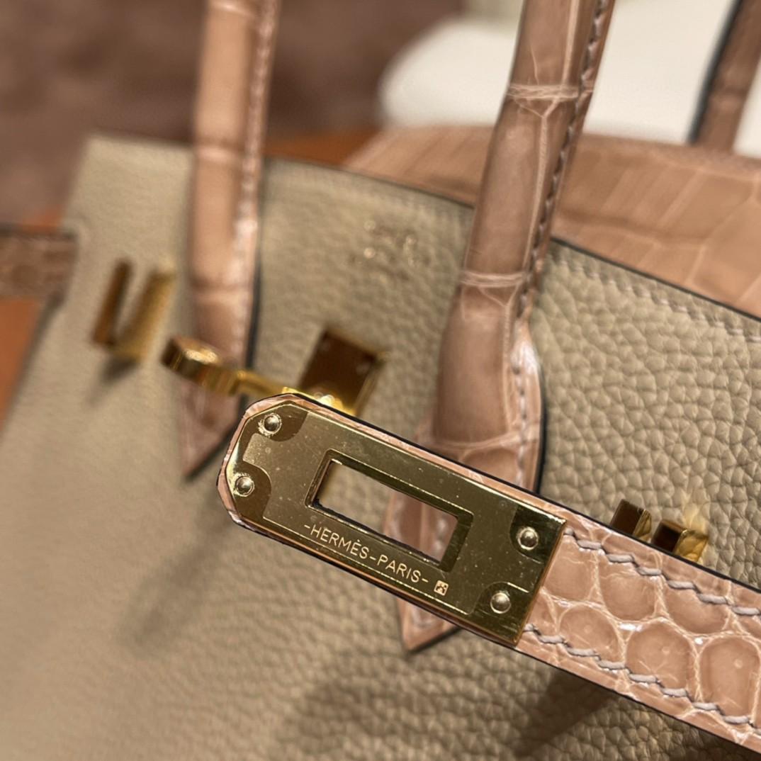 爱马仕 极品现货一枚  Birkin Touch 25 S2 风衣灰 金扣  非常高级又适合日常 togo拼鳄鱼 比普皮更贵气
