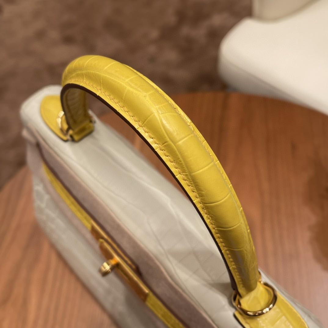 极品现货 28 kelly 尼罗Nilo雾面鳄鱼 淡雅的80珍珠灰拼俏皮的M9 金盏花黄,高贵不失活泼 ,金扣 两点马蹄印 ,超美搭配
