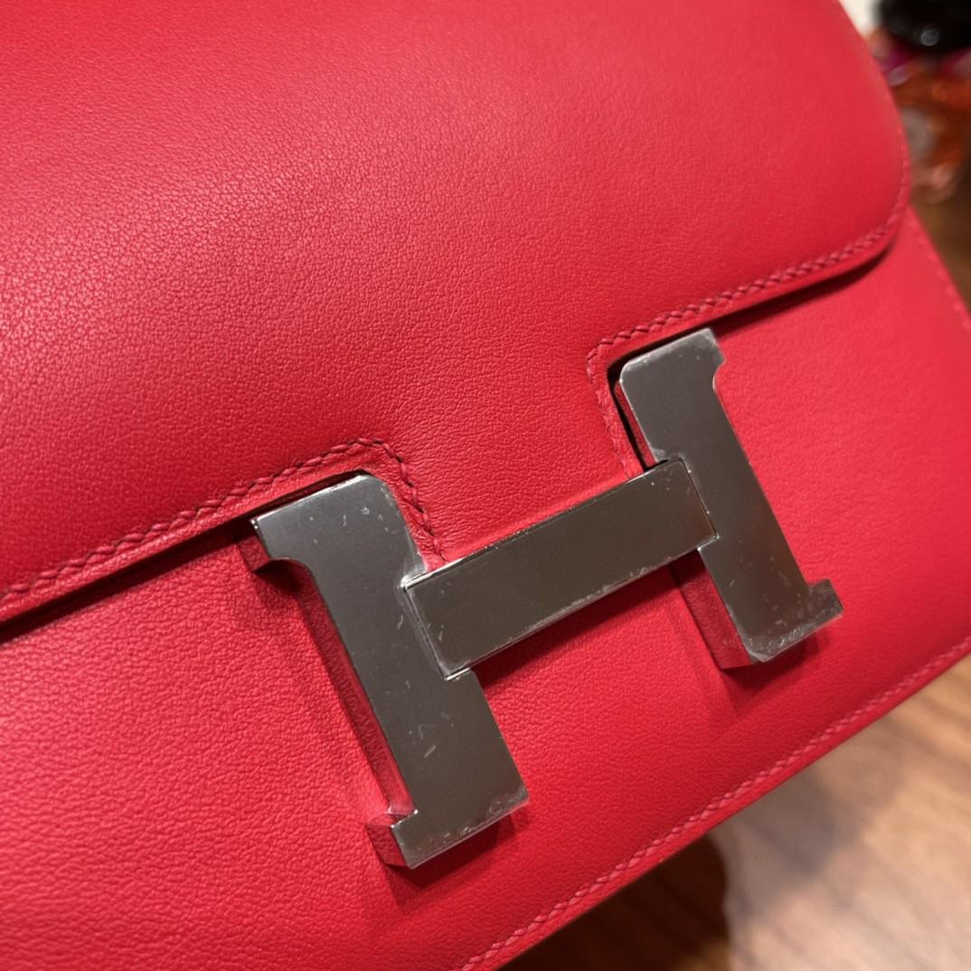 HERMES constance 康康包19 cm 小巧玲珑 大H标志极具个性 Swift皮S3心红拼37金棕银扣