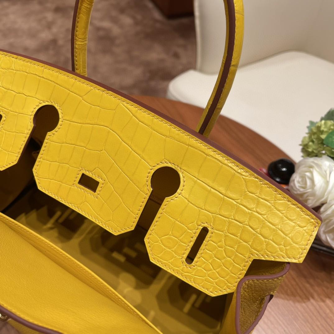 爱马仕 极品现货一枚  Birkin Touch 30 9D琥珀黄 金 非常高级又适合日常 招财阳光黄  togo拼鳄鱼