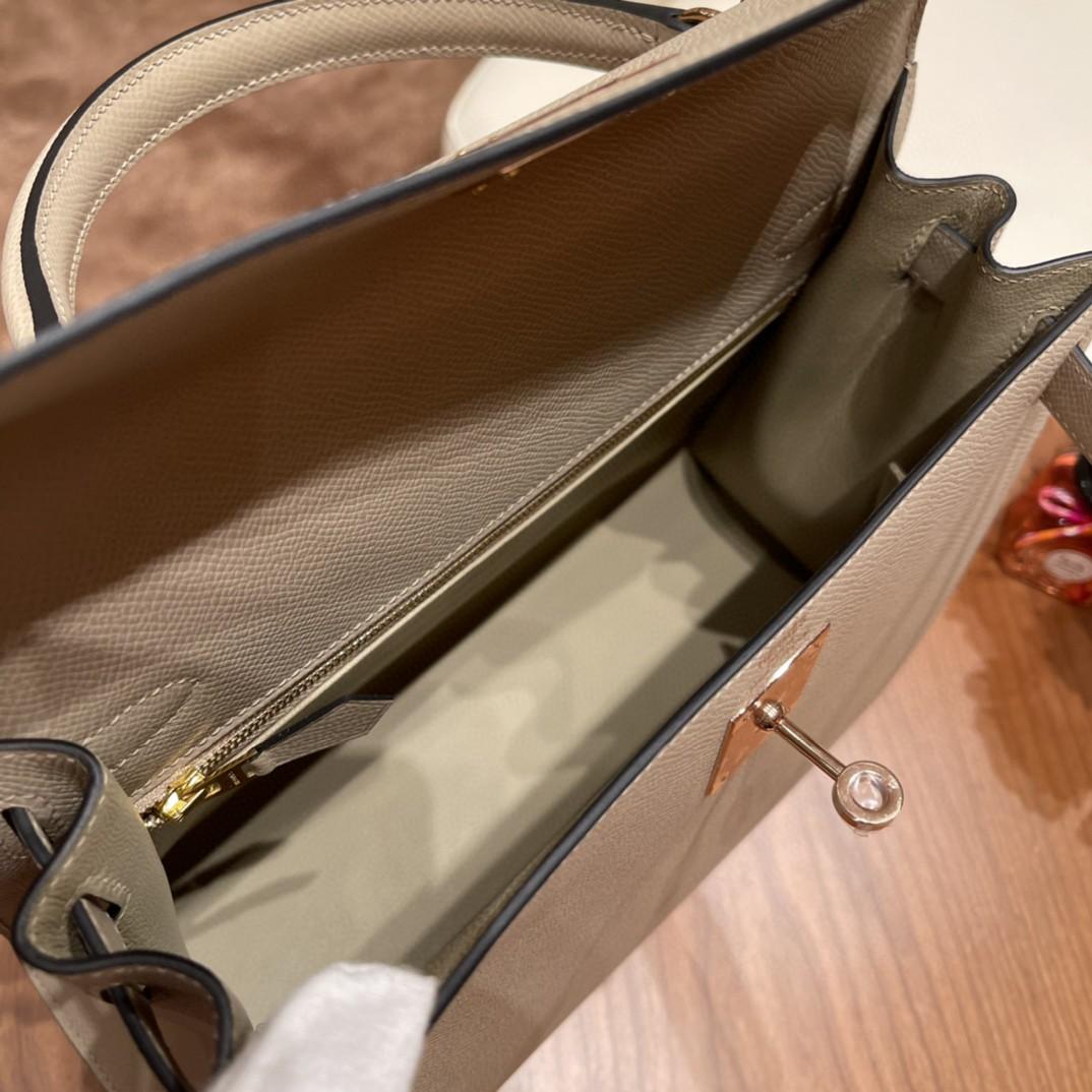 HERMES 爱马仕 28 Kelly S2 风衣灰 玫瑰金扣 原厂皮 代购品质