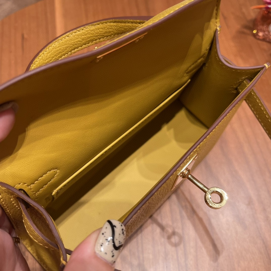 Hermes Mini Kelly 二代 特别精致小巧 热销度 swift 皮  琥珀黄