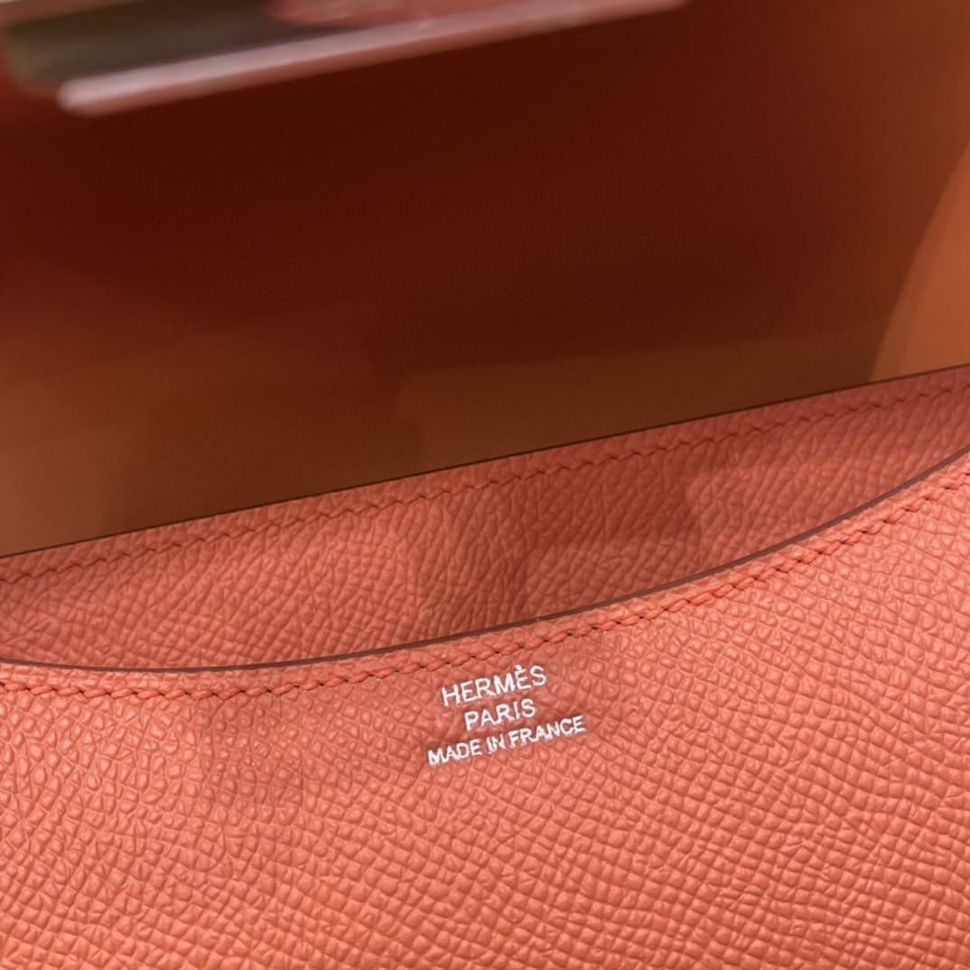 HERMES constance 康康包19 cm 小巧玲珑,大H标志极具个性, 出街旅游必备单品斜跨单肩,四季皆可搭配 3L 玫瑰粉 银扣