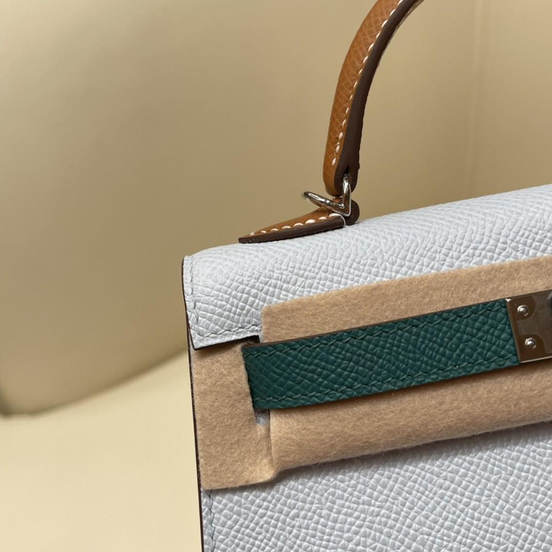 Hermes Mini Kelly 二代 特别精致小巧,热销度 Epsom 皮 海鸥灰 祖母绿金棕色