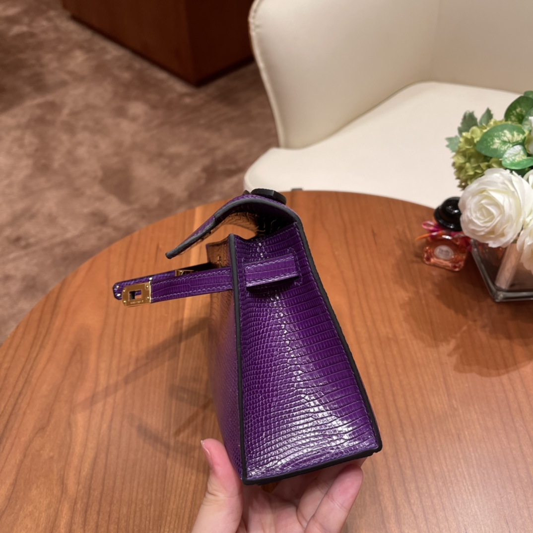 香港HERMES 爱马仕官网 Kelly pochette一代 9W 梦幻紫 金扣