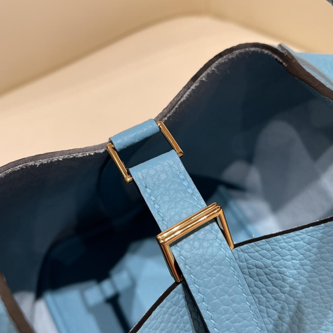 HERMES picotin 18cm 超级百搭的菜篮子 入门款实用款,容量大 超级推荐 Tc皮北方蓝金扣