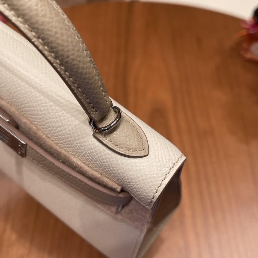 爱马仕 New stock  Mini Kelly 二代 SO 特别精致小巧,热销度 Epsom 皮 10 奶昔白拼S2 风衣灰 银扣,超百搭