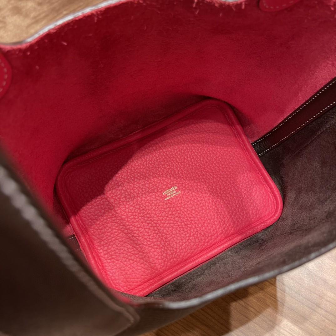 HERMES picotin 18cm 超级百搭的菜篮子 入门款 实用款,容量大超级推荐 46乌木色拼i6极致粉金扣