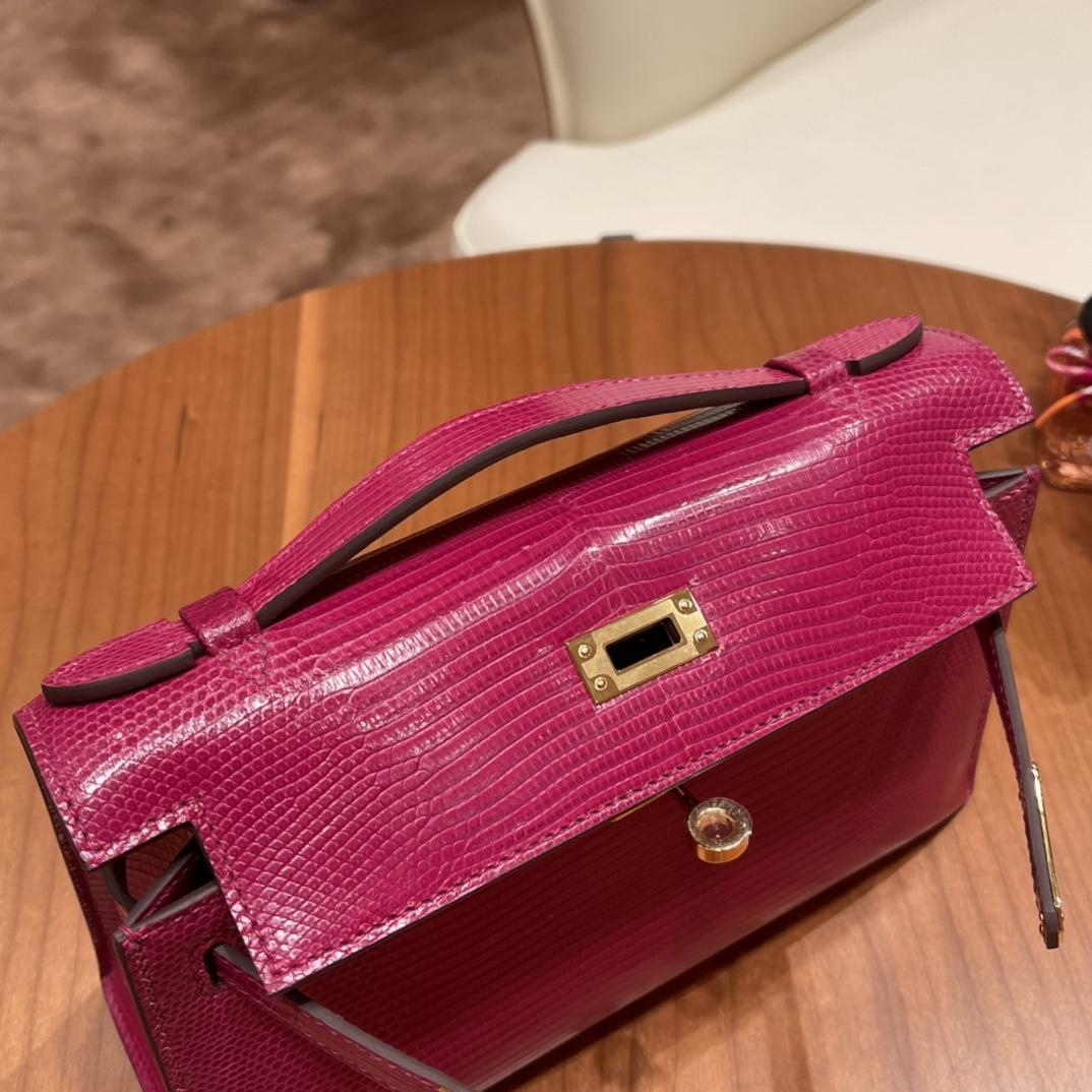 Hermes 香港爱马仕官网 Kelly pochette 一代手包 西班牙lizard 蜥蜴皮 K5 托斯卡紫 金扣 紫色中带红色调