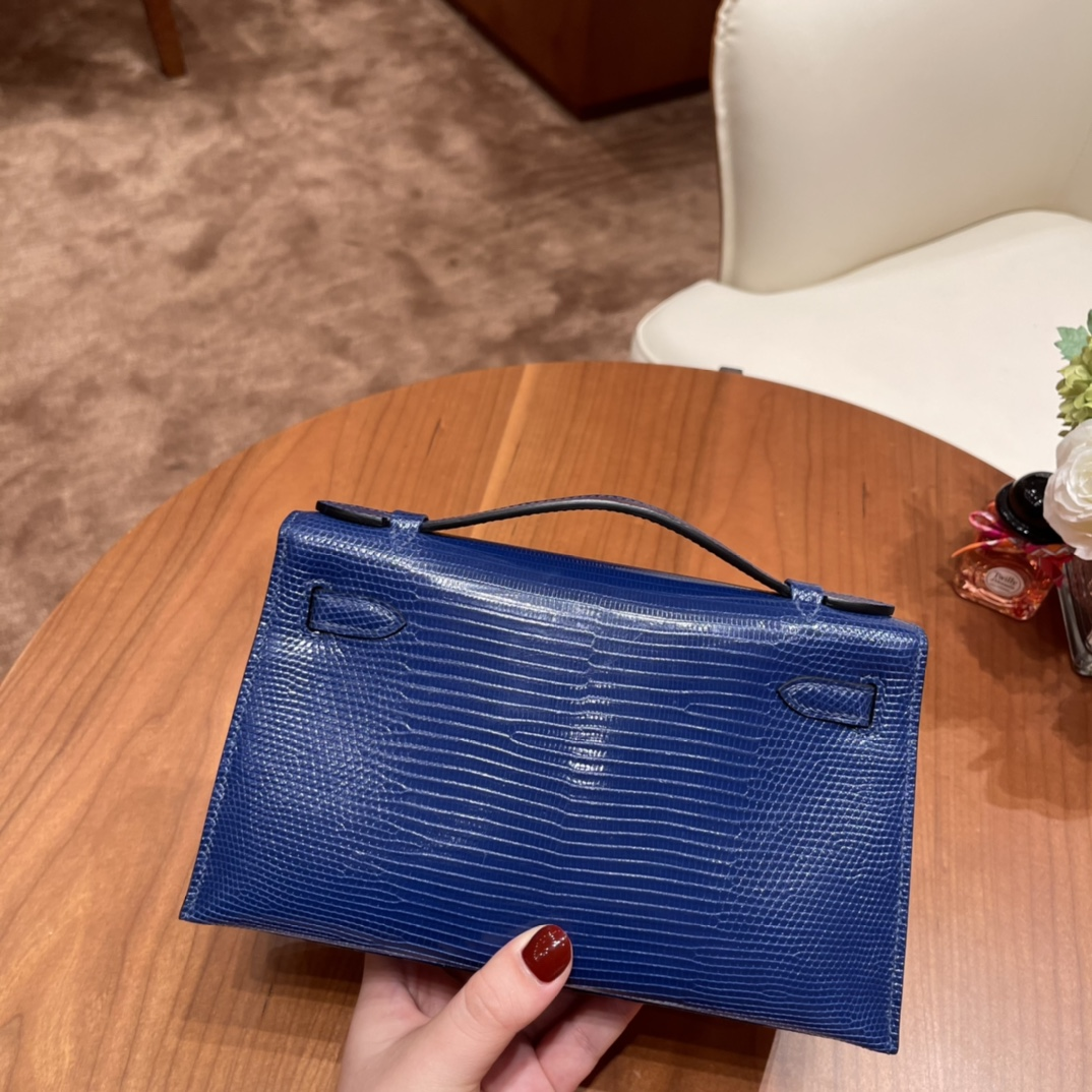 HEMRES Kelly pochette一代 手包晚宴包 7T 电光蓝 金扣  毫无年龄界的蓝色