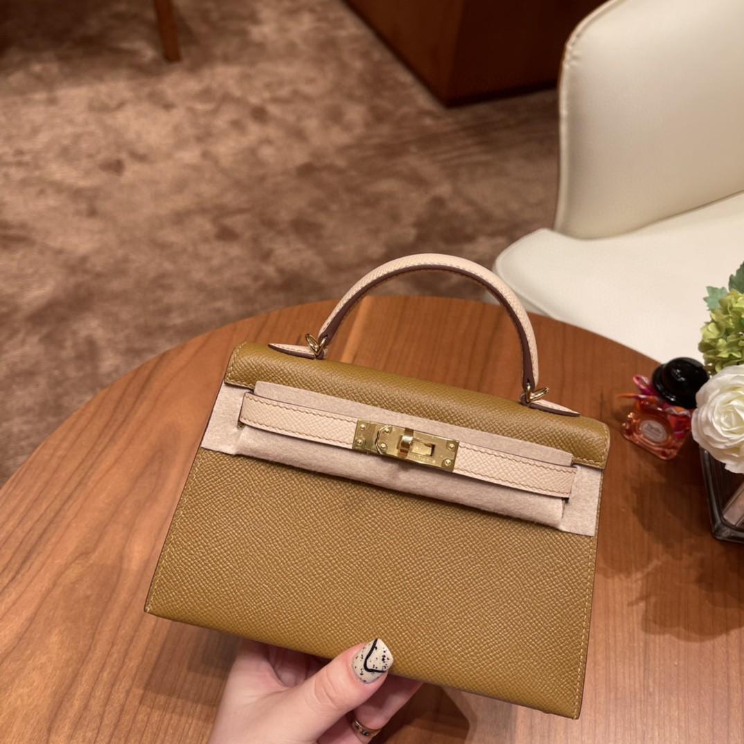 爱马仕 Mini Kelly 二代 SO 特别精致小巧,热销度 Epsom 皮 U8 青铜色拼P1 蔷薇粉 金扣