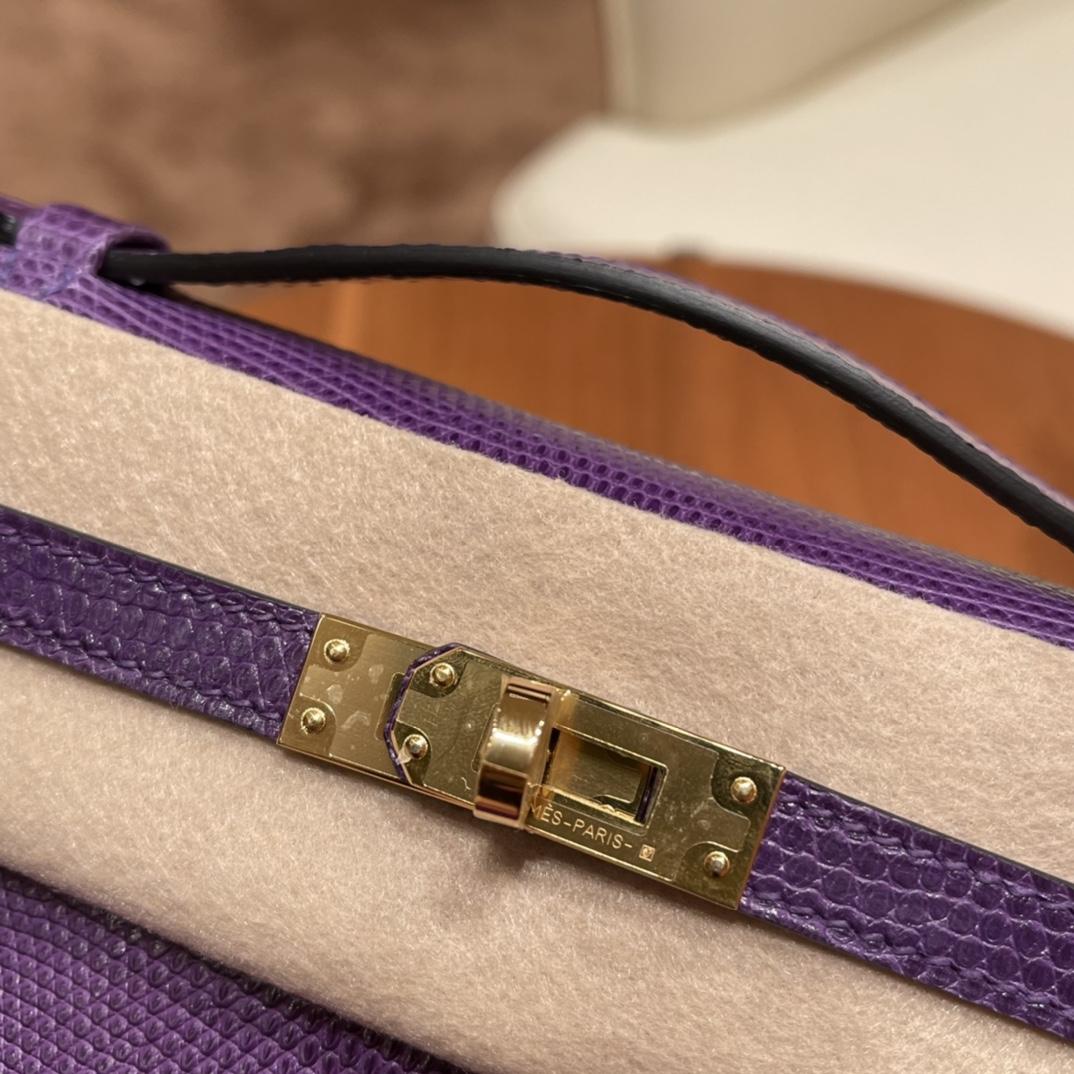 HEMRES Kelly pochette一代 手包晚宴包 9W 梦幻紫 金扣 最具有神秘梦幻魅力的颜色