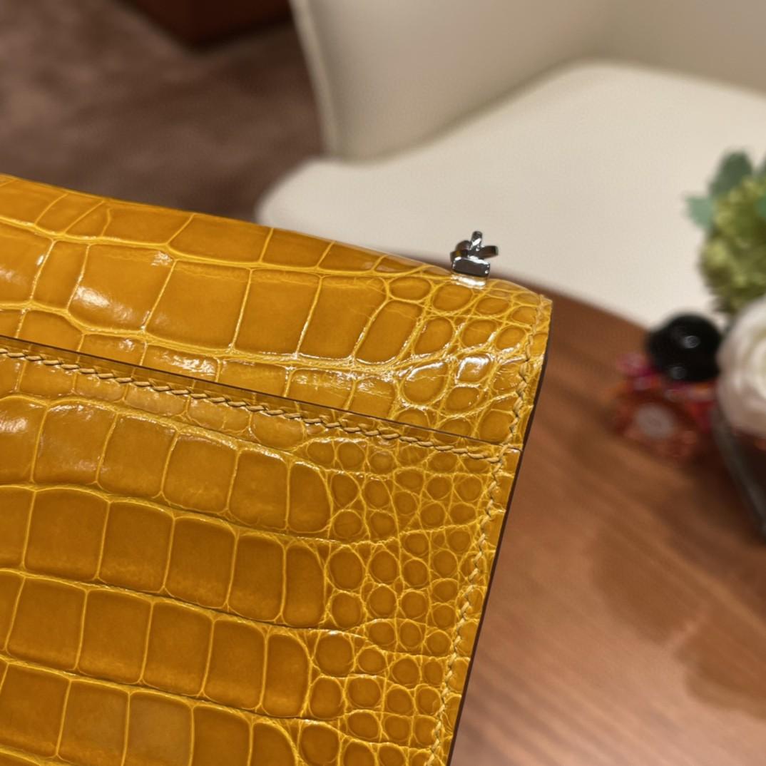 HERMES 极品 Verrou Mini 17cm  Alligateor 美洲亮面方块鳄鱼  9D 琥珀黄 银扣   招财黄
