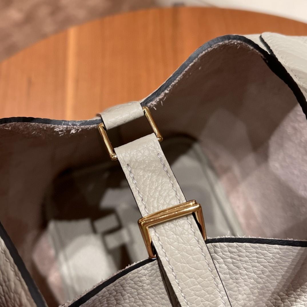 HERMES picotin 18cm 超级百搭的菜篮子 入门款实用款,容量大 超级推荐 Tc皮 8L 冰川白  金扣