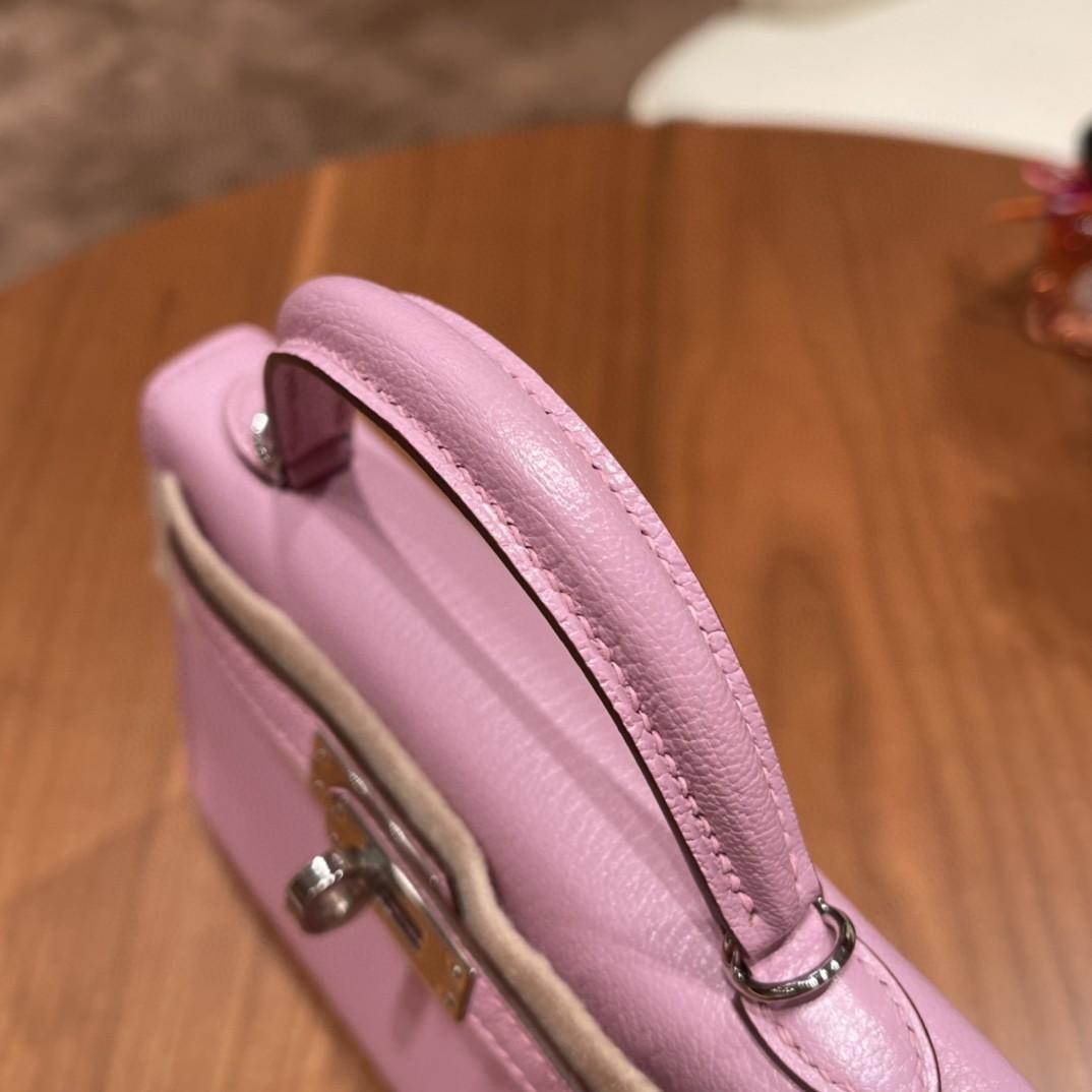 Hermes 爱马仕 Mini Kelly 二代 特别精致小巧,热销度 山羊皮 X9 锦葵紫 银扣